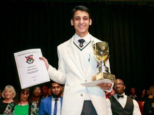 Mahir Ambelal receiving the top AP Maths (AdMaths) award at the Greenside High School prize giving in Joburg in September 2016.