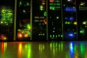 A server running at night with bright lights