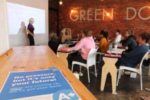 Trish holding an NBT workshop at the GreenDoor