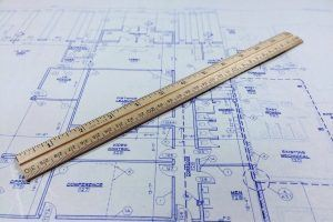 architects drawing and a ruler